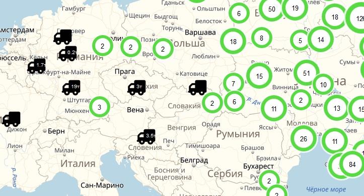География работы сервиса Везет Всем автомобильные грузоперевозки