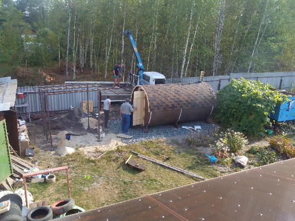 Доставить автотранспортом баню-бочка догрузом из Новосибирск в Тамбов