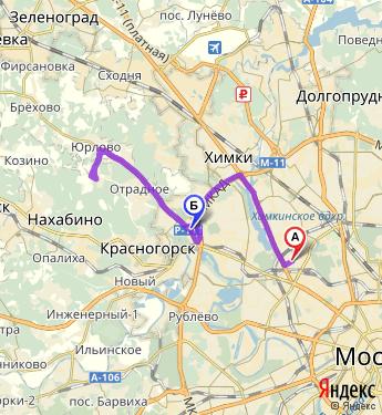 Маршрут сообразно Москве